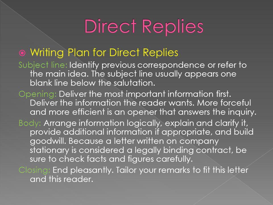 Direct Replies Writing Plan for Direct Replies
