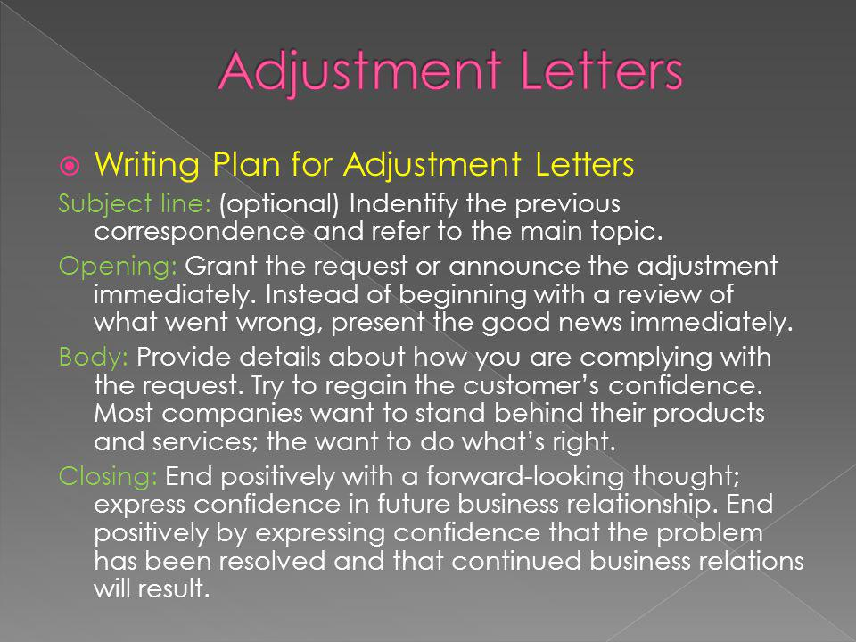 Adjustment Letters Writing Plan for Adjustment Letters