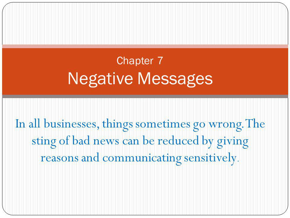 Chapter 7 Negative Messages