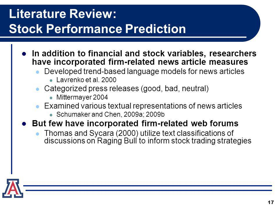 Literature Review: Stock Performance Prediction