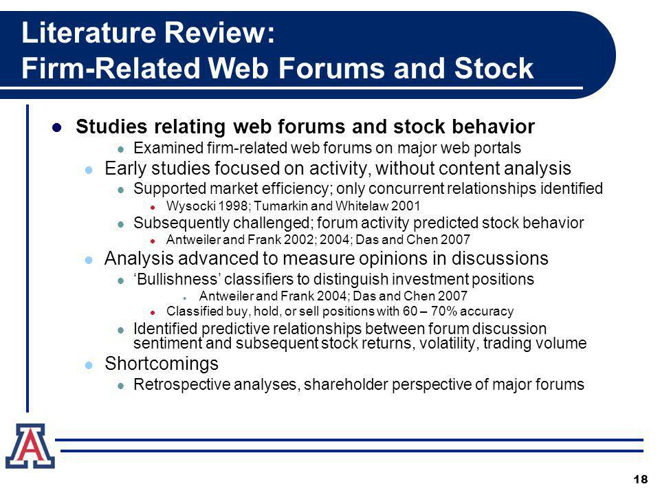 Literature Review: Firm-Related Web Forums and Stock