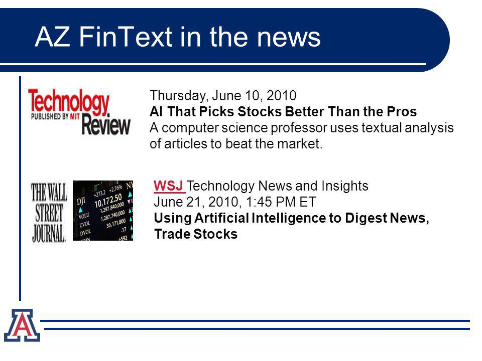AZ FinText in the news Thursday, June 10, 2010