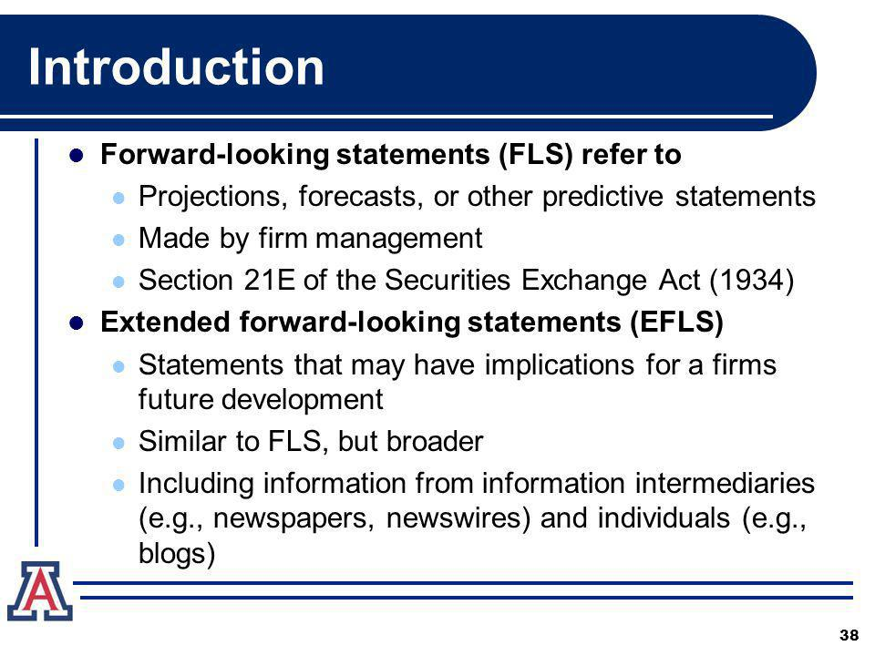 Introduction Forward-looking statements (FLS) refer to