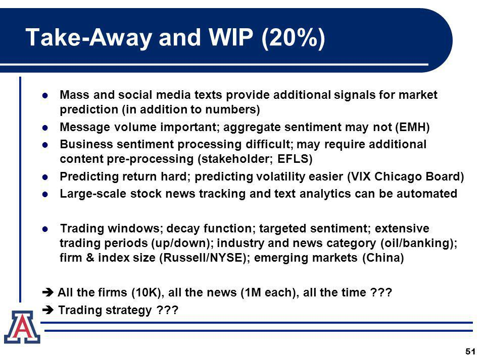 Take-Away and WIP (20%) Mass and social media texts provide additional signals for market prediction (in addition to numbers)