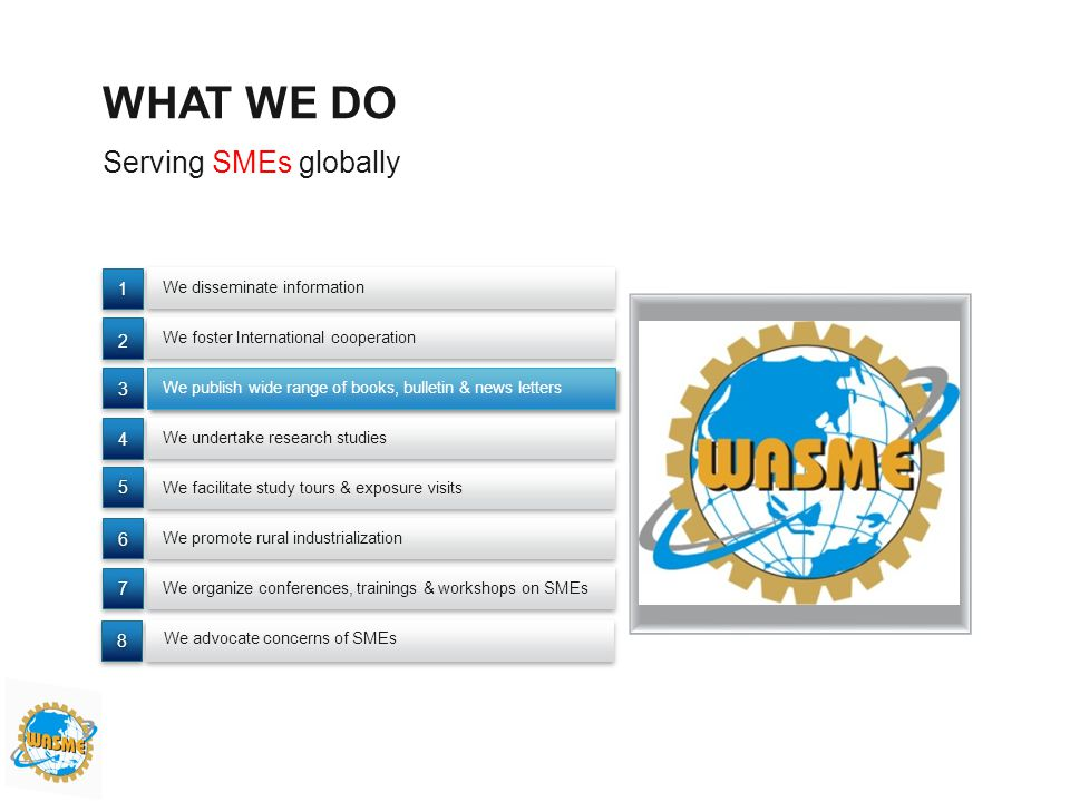 WHAT WE DO Serving SMEs globally 1 2 3 4 5 6 7 8