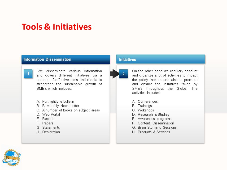 Tools & Initiatives Information Dissemination Initiatives 1 2