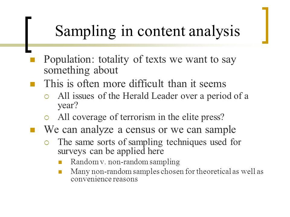 Sampling in content analysis