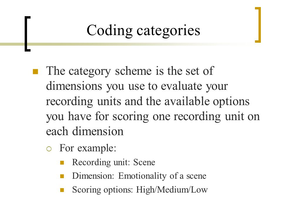 Coding categories