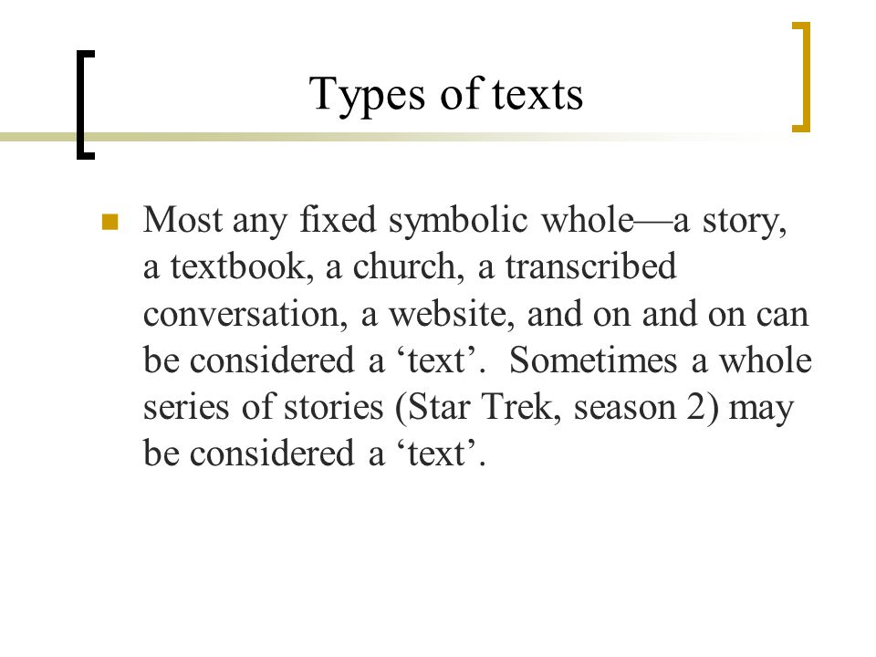 Types of texts