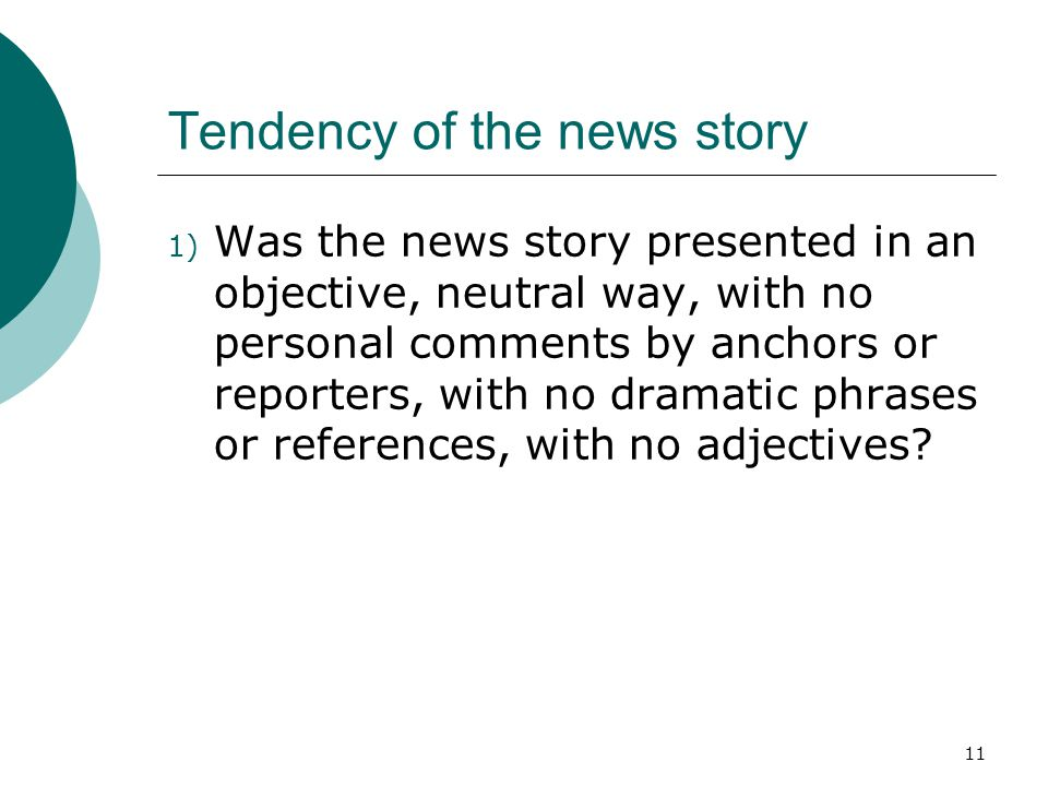 Tendency of the news story