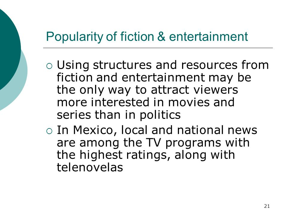 Popularity of fiction & entertainment