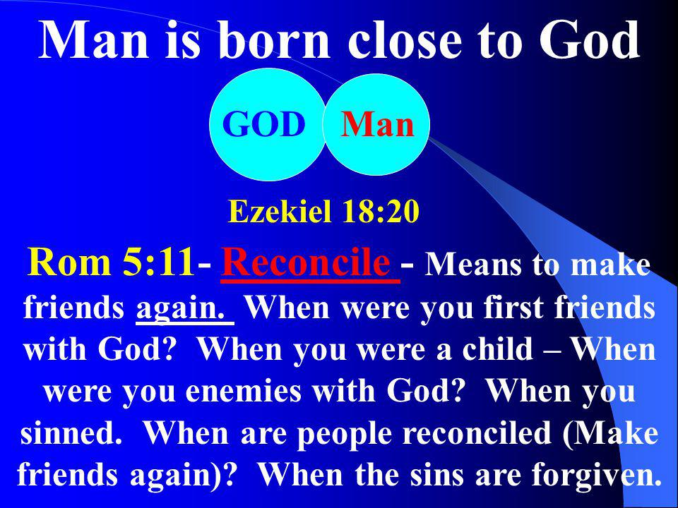 Man is born close to God GOD. Man. Ezekiel 18:20.