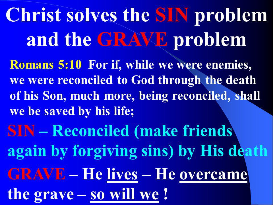 Christ solves the SIN problem and the GRAVE problem
