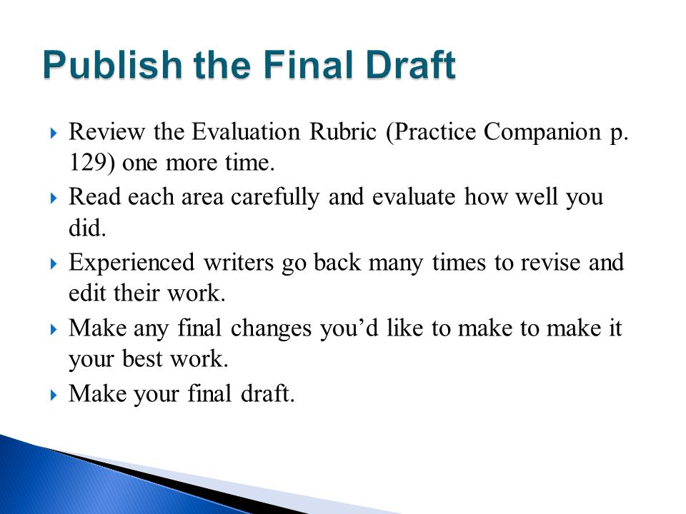 Publish the Final Draft