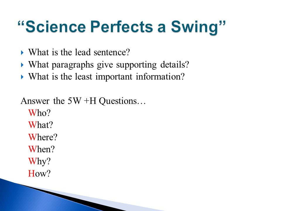 Science Perfects a Swing
