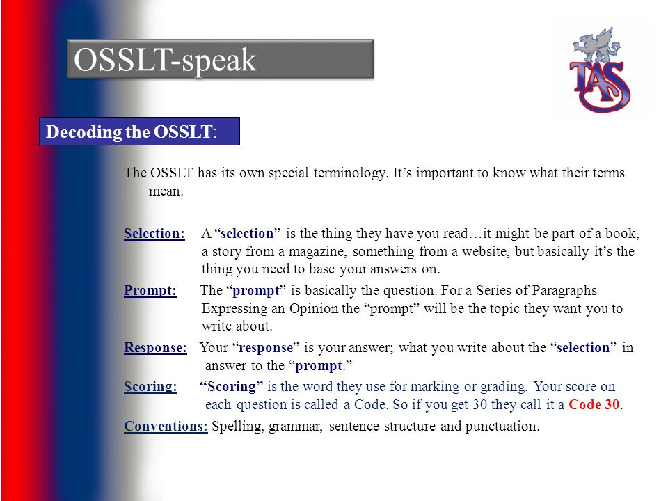 OSSLT-speak Decoding the OSSLT: