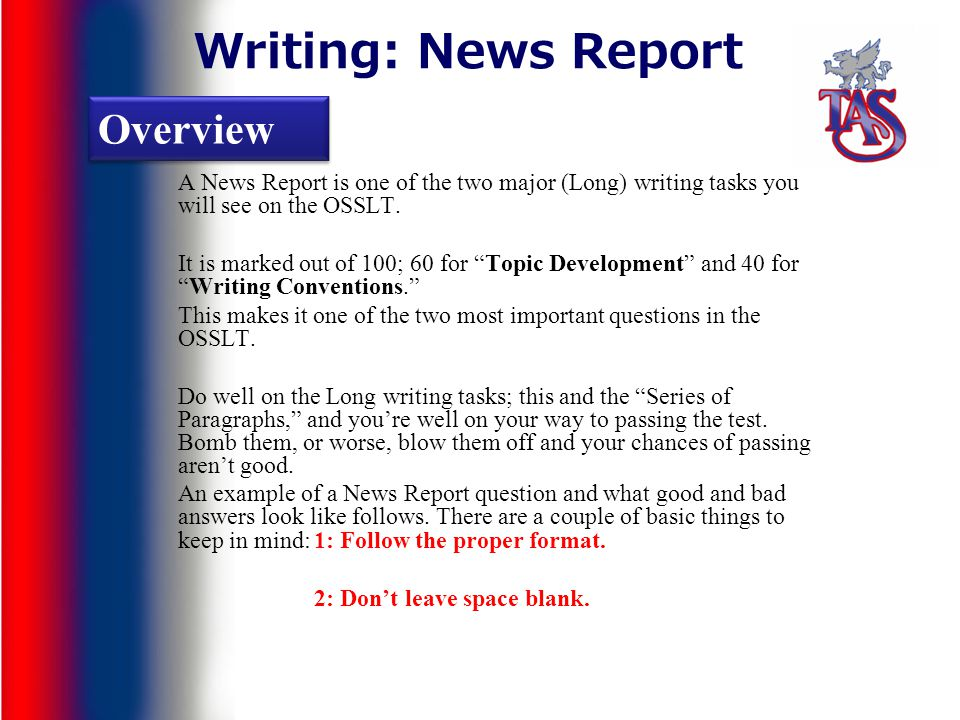 Write news report example