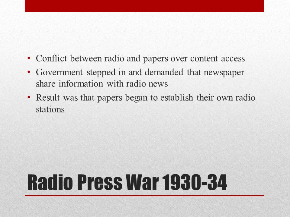 Conflict between radio and papers over content access