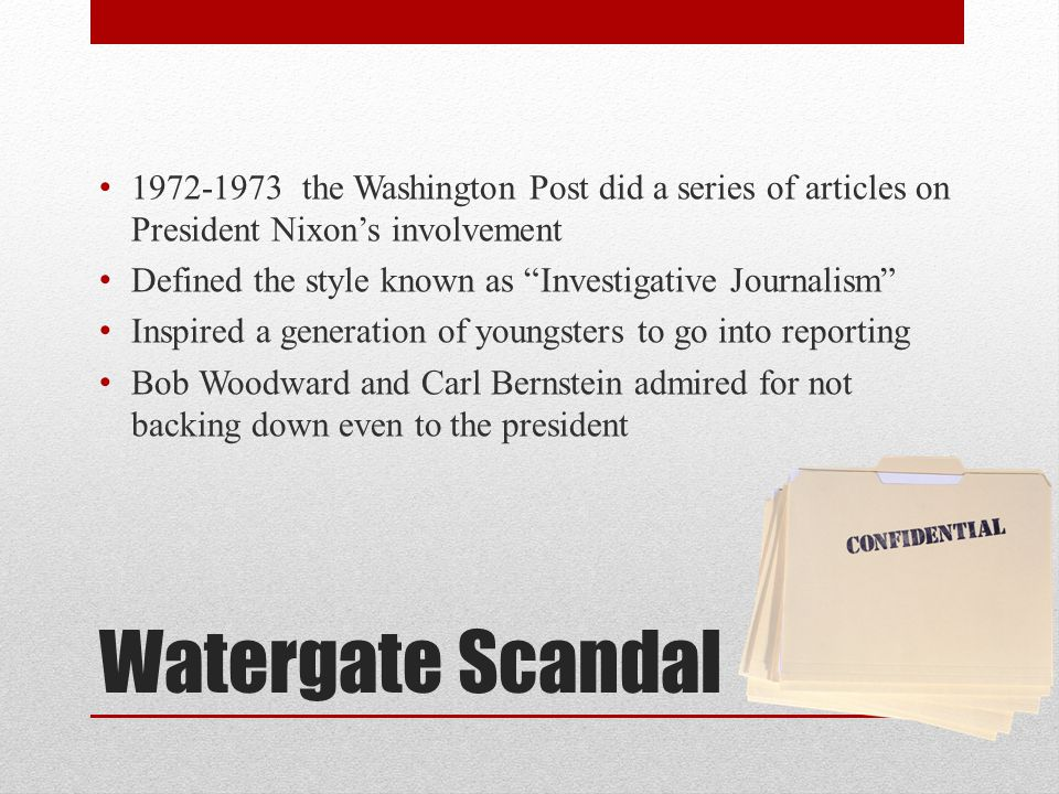 1972-1973 the Washington Post did a series of articles on President Nixon's involvement
