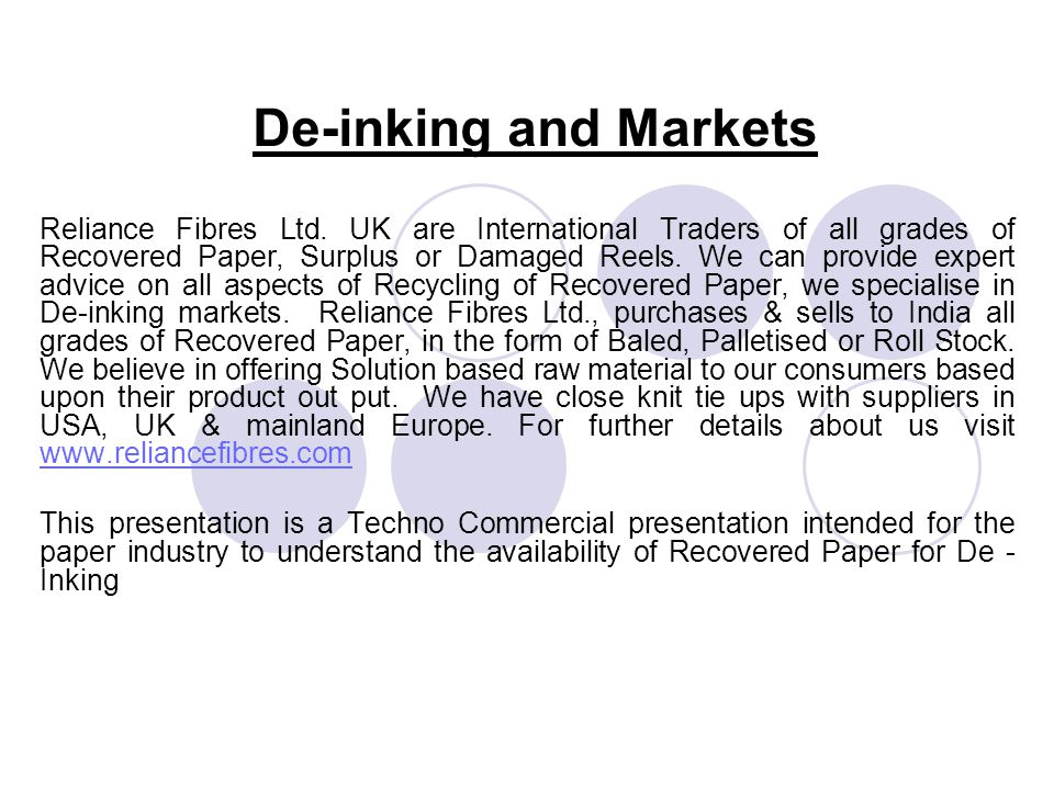 De-inking and Markets