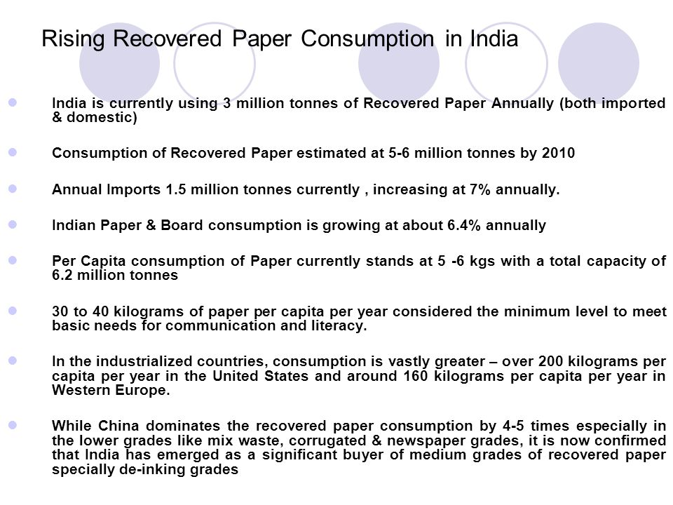 Rising Recovered Paper Consumption in India