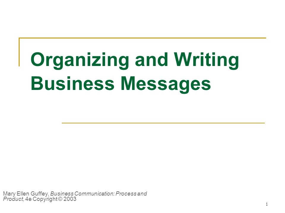 Organizing and Writing Business Messages