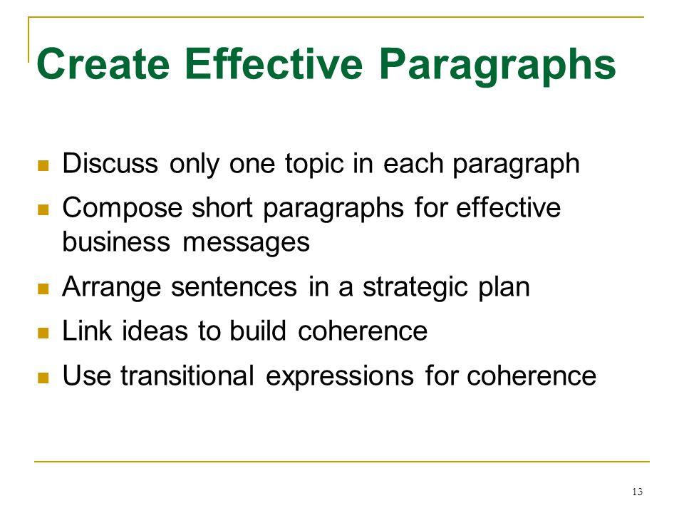 Create Effective Paragraphs