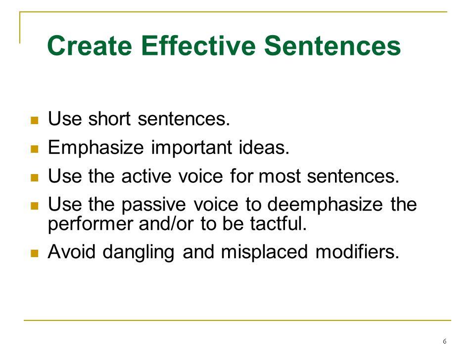 Create Effective Sentences
