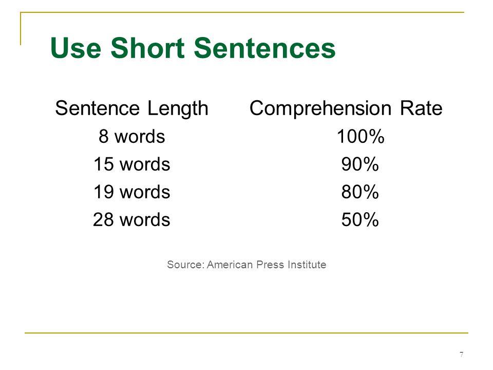 Use Short Sentences Sentence Length Comprehension Rate 8 words