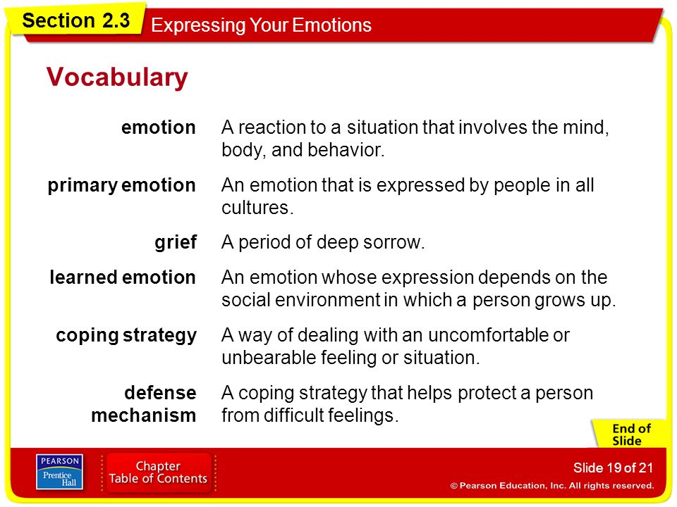 Vocabulary emotion. A reaction to a situation that involves the mind, body, and behavior. primary emotion.