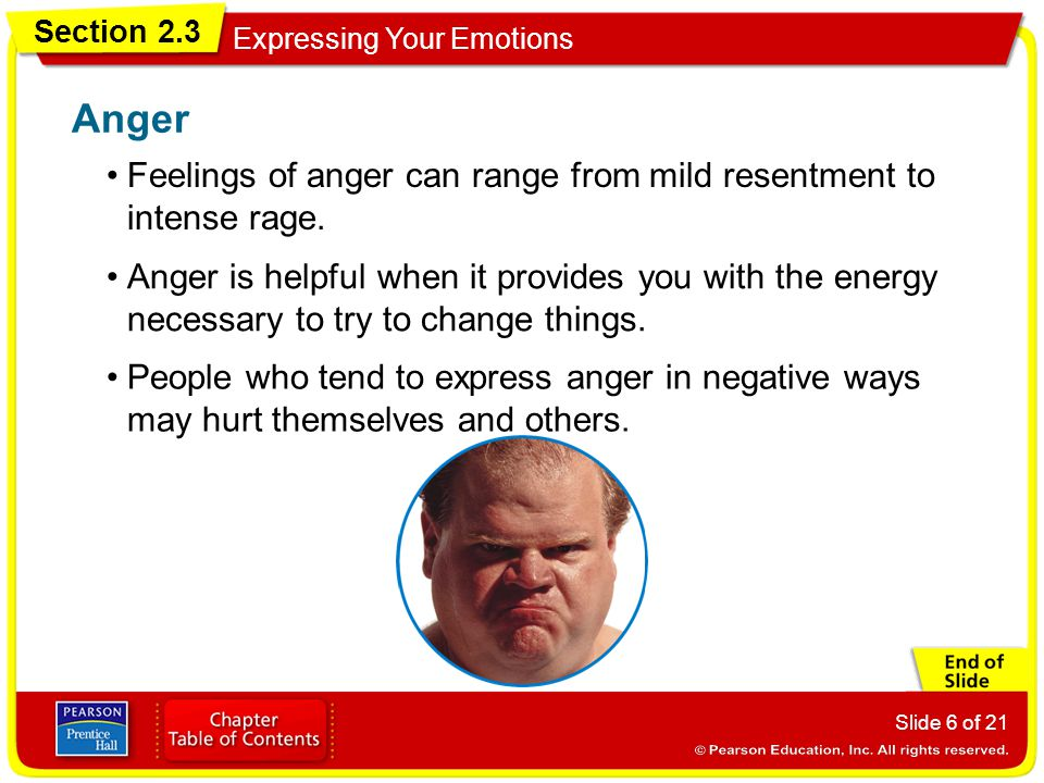 Anger Feelings of anger can range from mild resentment to intense rage.