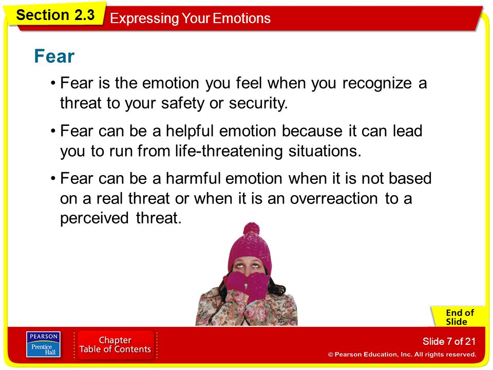 Fear Fear is the emotion you feel when you recognize a threat to your safety or security.
