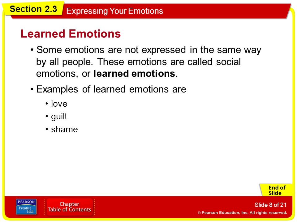 Learned Emotions • Some emotions are not expressed in the same way by all people. These emotions are called social emotions, or learned emotions.