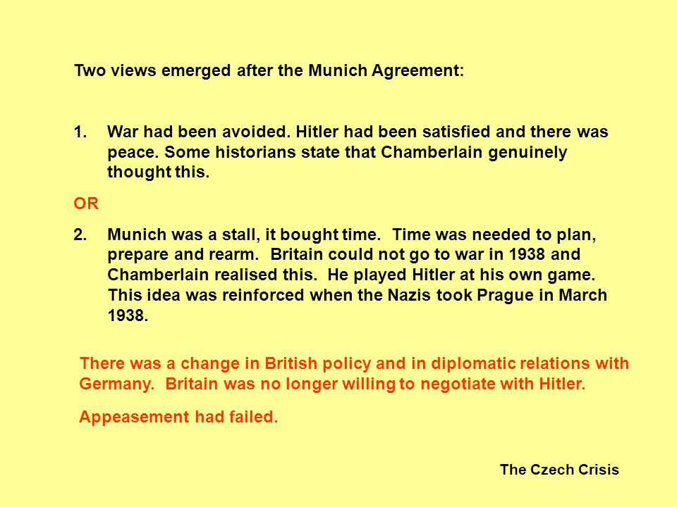 Two views emerged after the Munich Agreement:
