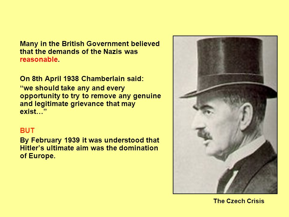On 8th April 1938 Chamberlain said: