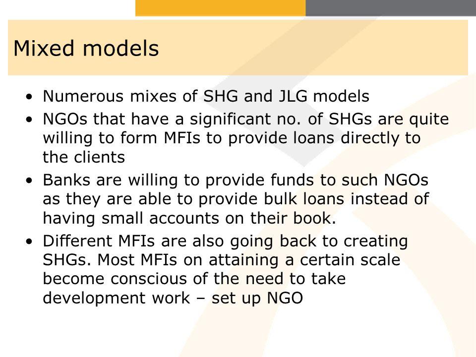 Mixed models Numerous mixes of SHG and JLG models