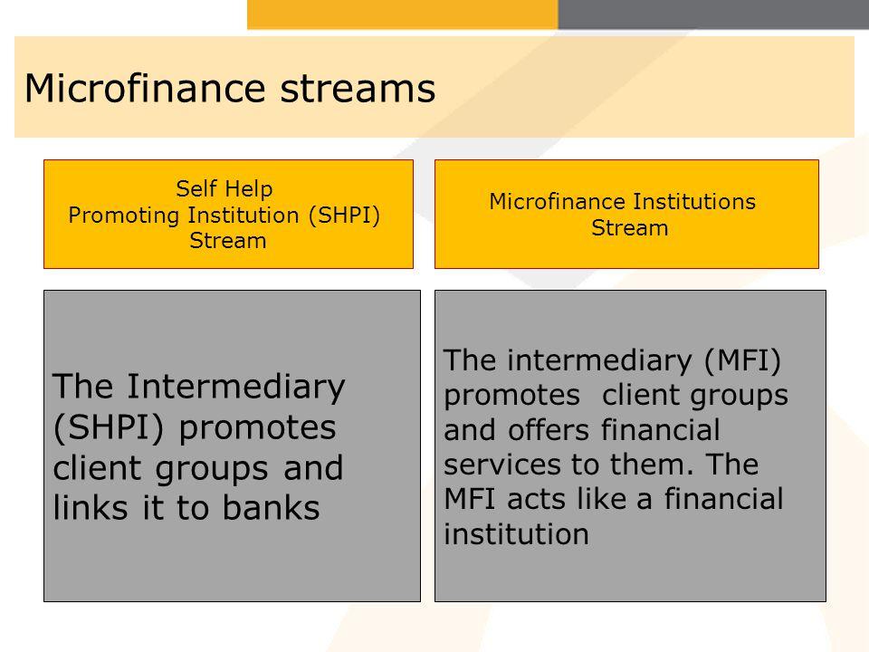 Microfinance streams Self Help. Promoting Institution (SHPI) Stream. Microfinance Institutions. Stream.