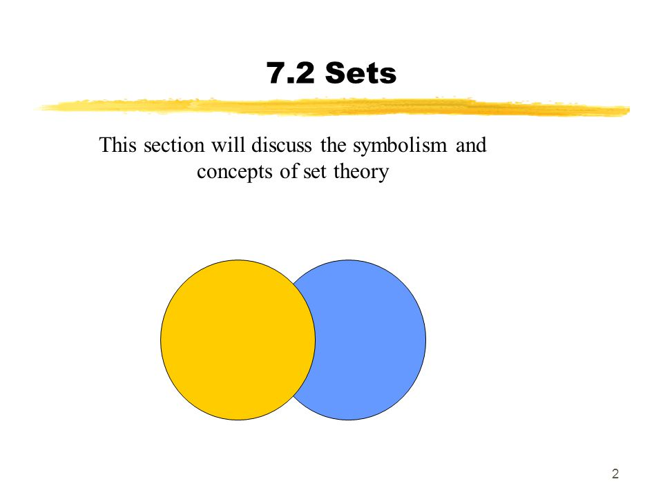 This section will discuss the symbolism and concepts of set theory
