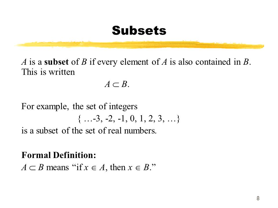 MAT 103 SP09 Subsets. A is a subset of B if every element of A is also contained in B. This is written.