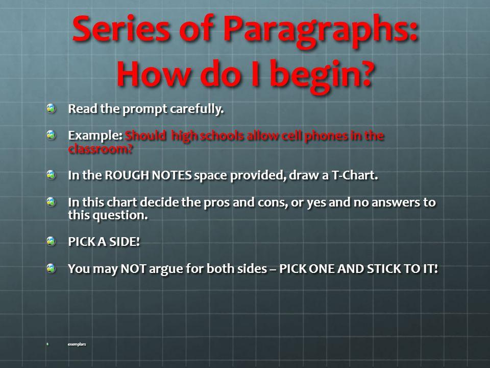 Series of Paragraphs: How do I begin