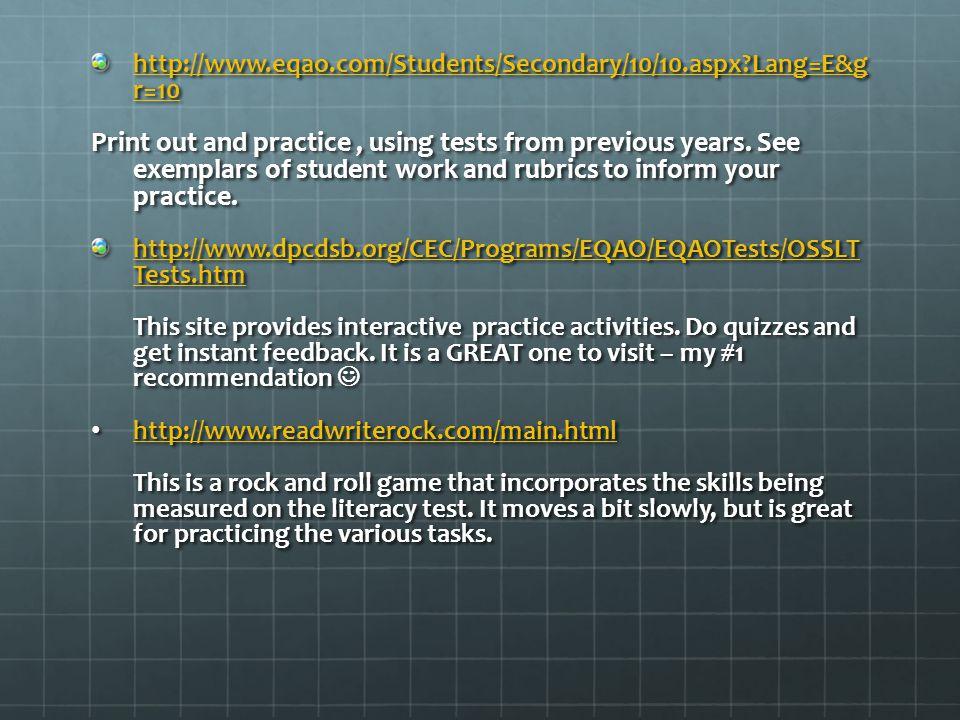 http://www.eqao.com/Students/Secondary/10/10.aspx Lang=E&g r=10