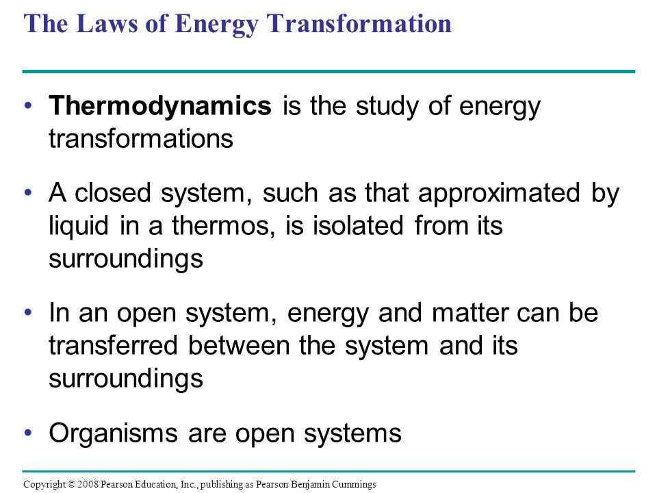 The Laws of Energy Transformation
