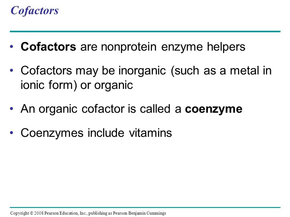 Cofactors are nonprotein enzyme helpers