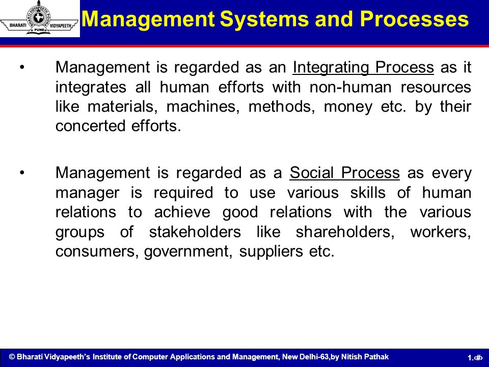 Management Systems and Processes