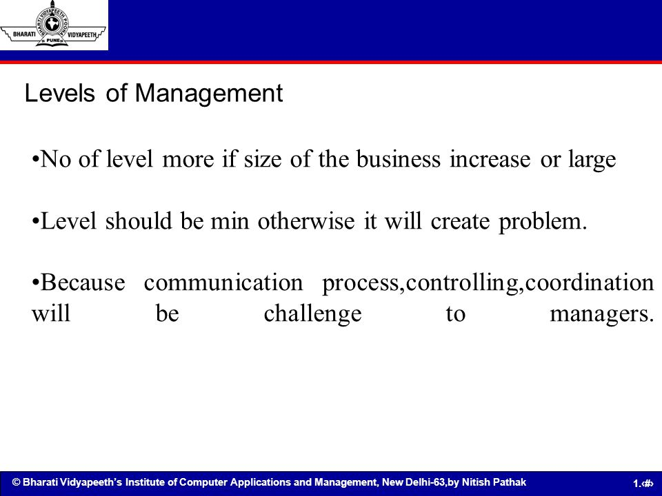 Levels of Management No of level more if size of the business increase or large. Level should be min otherwise it will create problem.