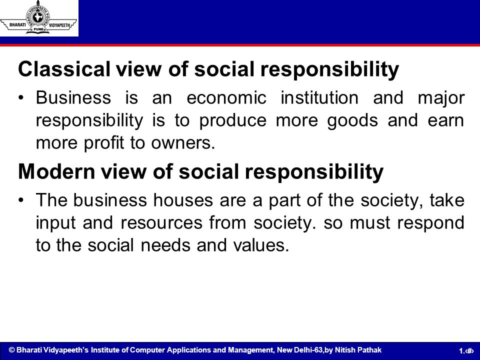 Classical view of social responsibility