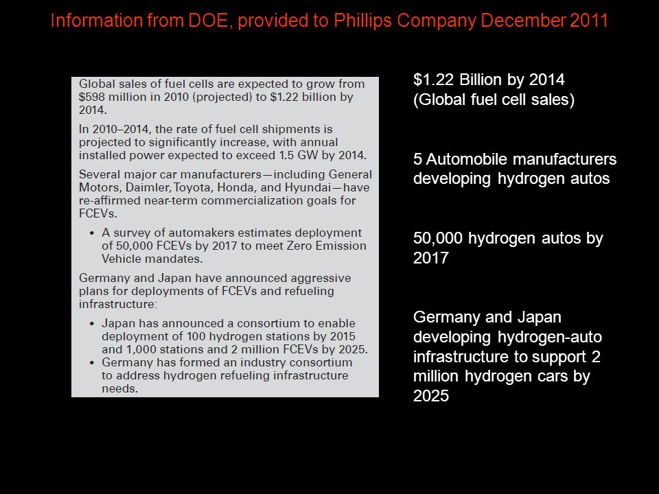 Information from DOE, provided to Phillips Company December 2011