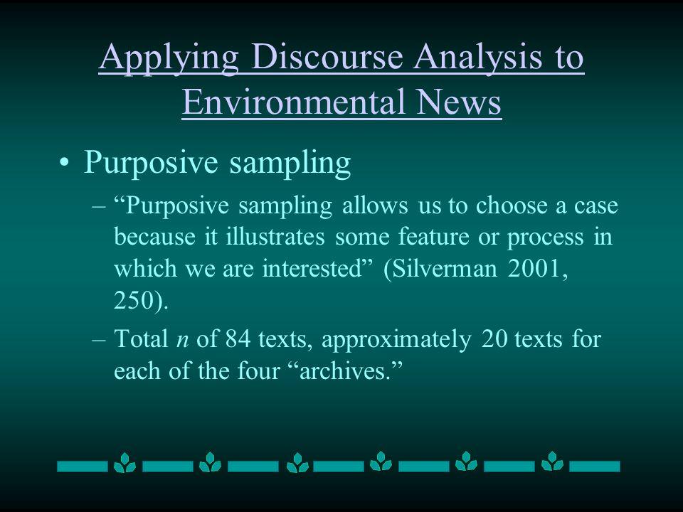 Applying Discourse Analysis to Environmental News