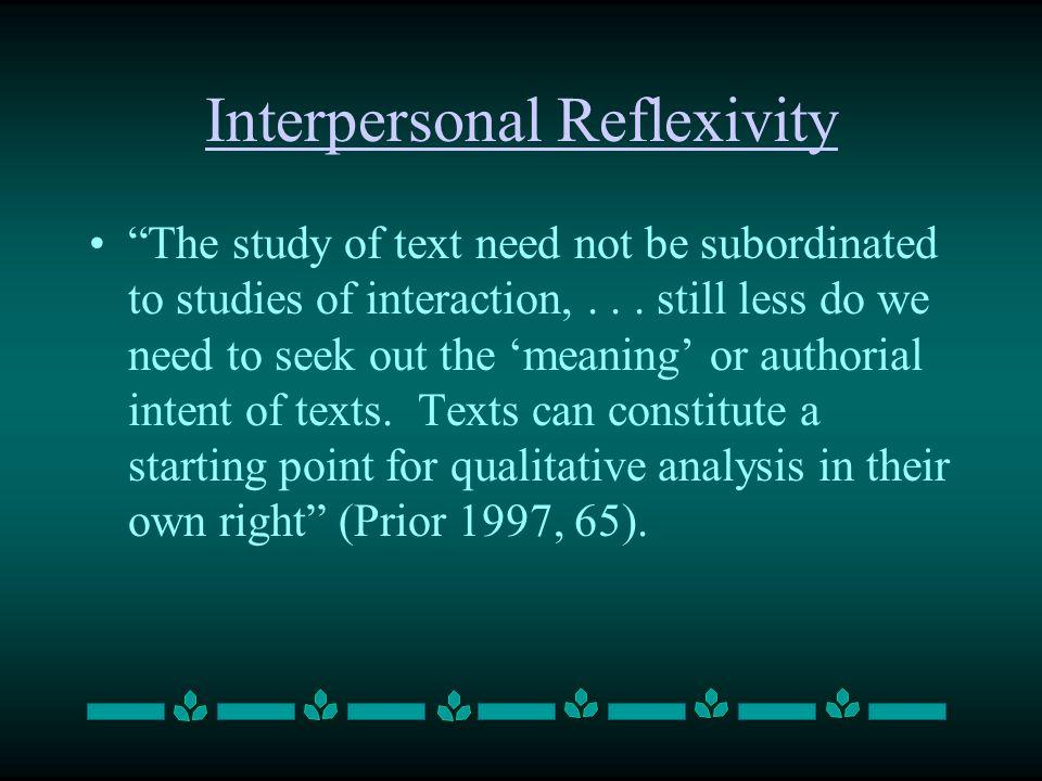 Interpersonal Reflexivity