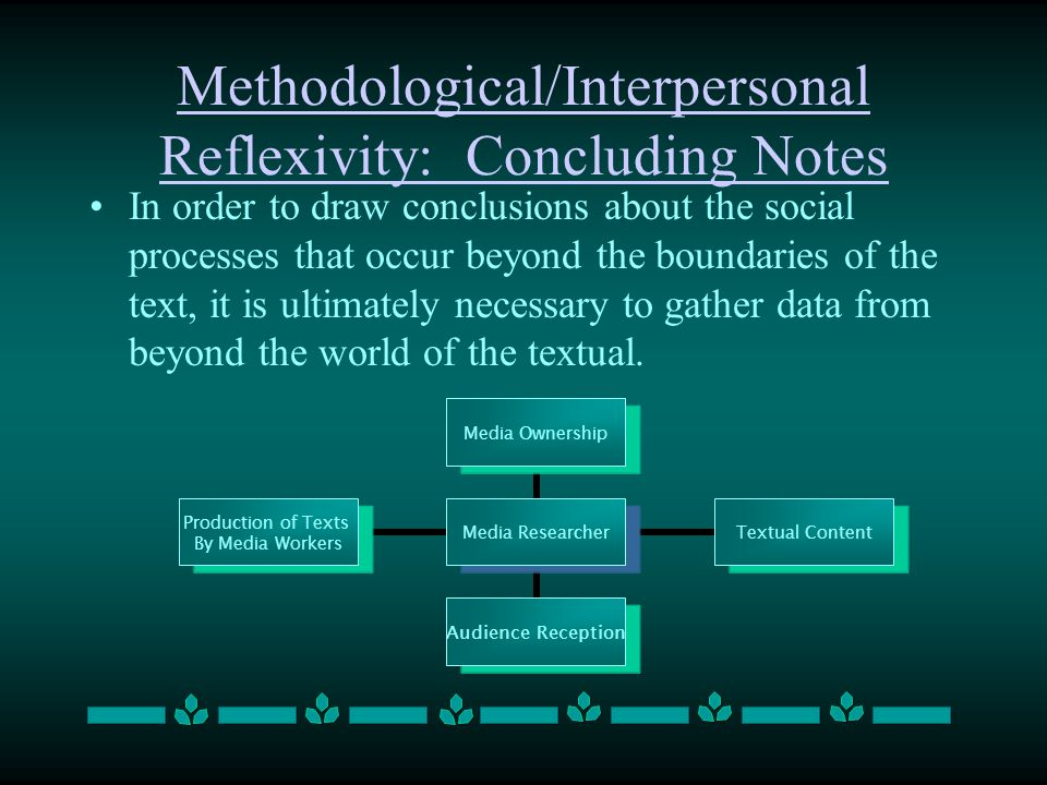 Methodological/Interpersonal Reflexivity: Concluding Notes